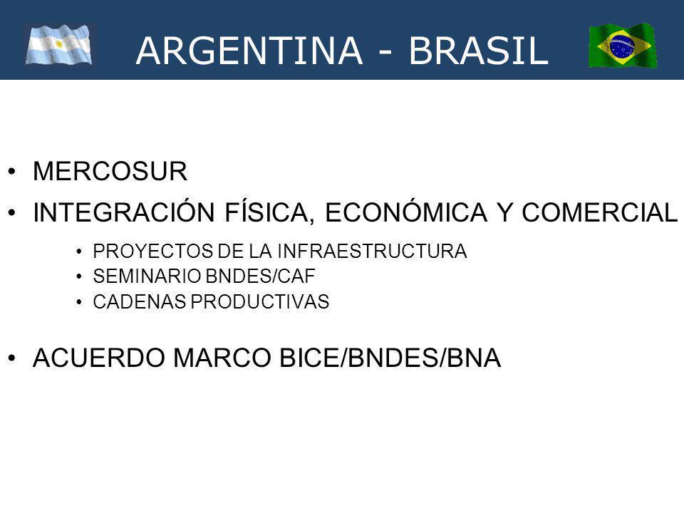 ARGENTINA - BRASIL MERCOSUR INTEGRACIÓN FÍSICA, ECONÓMICA Y COMERCIAL