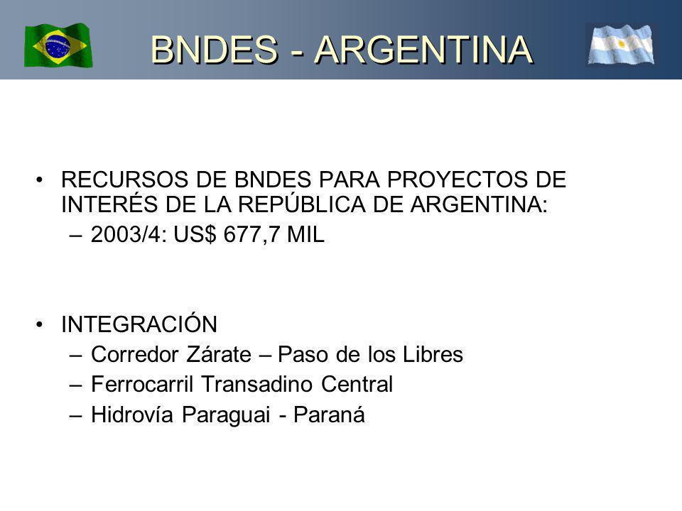 BNDES - ARGENTINA RECURSOS DE BNDES PARA PROYECTOS DE INTERÉS DE LA REPÚBLICA DE ARGENTINA: 2003/4: US$ 677,7 MIL.