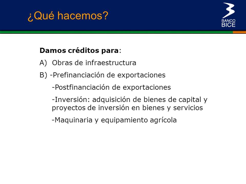 ¿Qué hacemos Damos créditos para: A) Obras de infraestructura