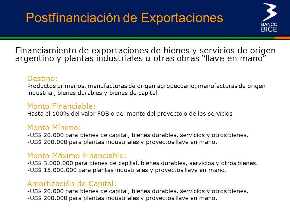 Postfinanciación de Exportaciones