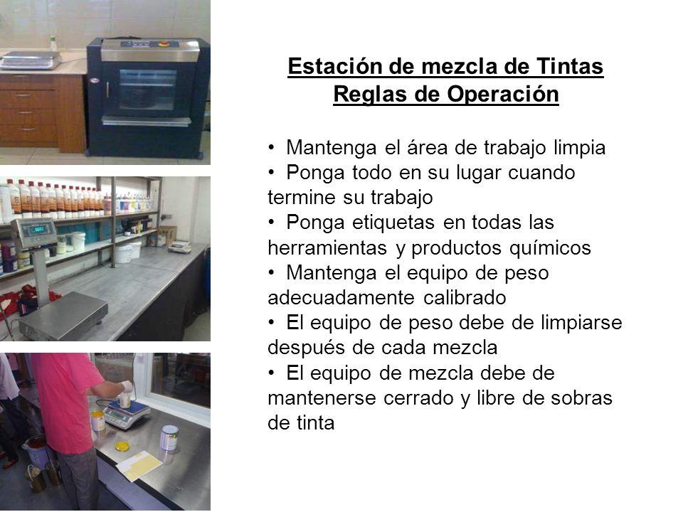 Estación de mezcla de Tintas Reglas de Operación
