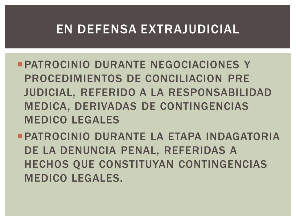 EN DEFENSA EXTRAJUDICIAL