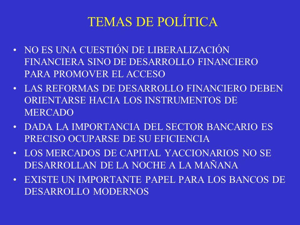 TEMAS DE POLÍTICA NO ES UNA CUESTIÓN DE LIBERALIZACIÓN FINANCIERA SINO DE DESARROLLO FINANCIERO PARA PROMOVER EL ACCESO.