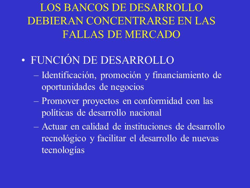 LOS BANCOS DE DESARROLLO DEBIERAN CONCENTRARSE EN LAS FALLAS DE MERCADO