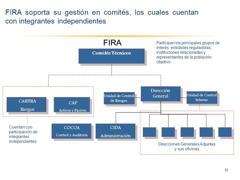 FIRA soporta su gestión en comités, los cuales cuentan con integrantes independientes