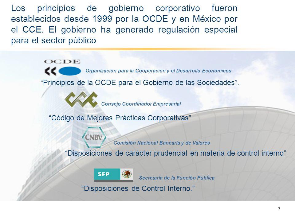 Los principios de gobierno corporativo fueron establecidos desde 1999 por la OCDE y en México por el CCE. El gobierno ha generado regulación especial para el sector público