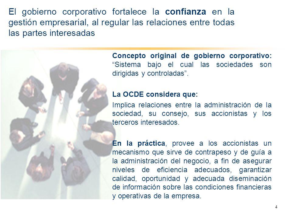 El gobierno corporativo fortalece la confianza en la gestión empresarial, al regular las relaciones entre todas las partes interesadas
