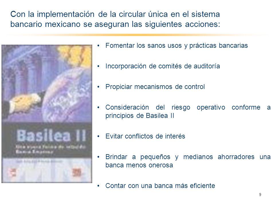Con la implementación de la circular única en el sistema bancario mexicano se aseguran las siguientes acciones: