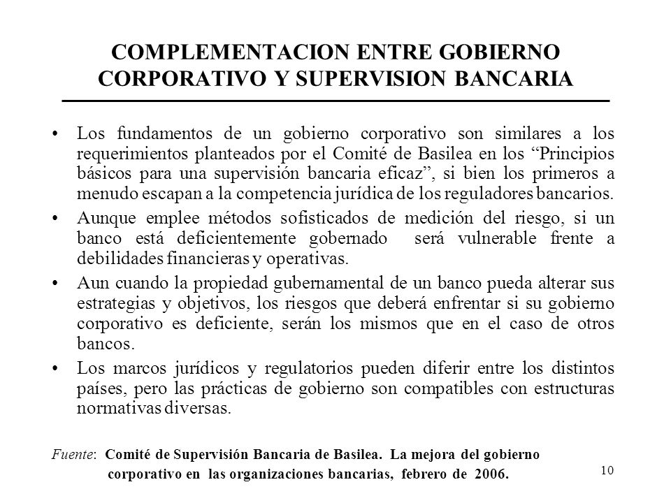 COMPLEMENTACION ENTRE GOBIERNO CORPORATIVO Y SUPERVISION BANCARIA