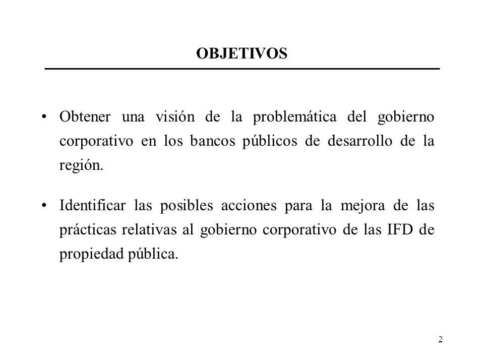 OBJETIVOS Obtener una visión de la problemática del gobierno corporativo en los bancos públicos de desarrollo de la región.