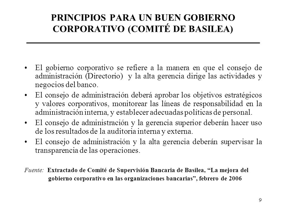 PRINCIPIOS PARA UN BUEN GOBIERNO CORPORATIVO (COMITÉ DE BASILEA)