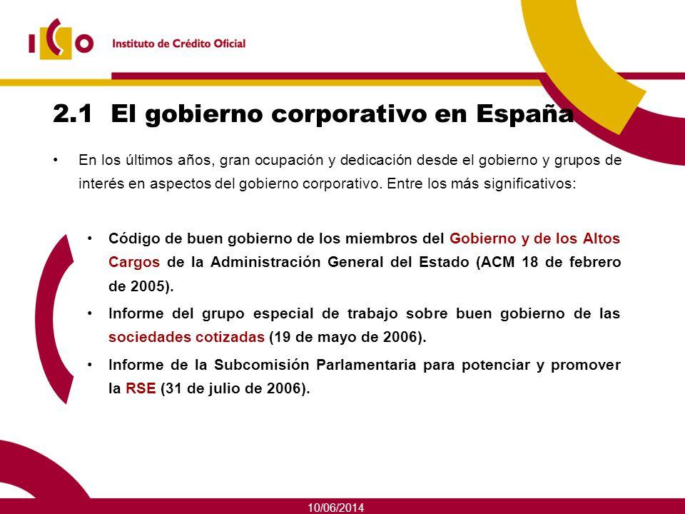 2.1 El gobierno corporativo en España