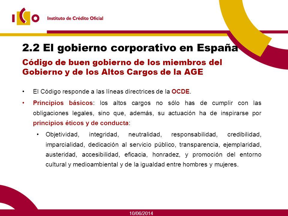 2.2 El gobierno corporativo en España