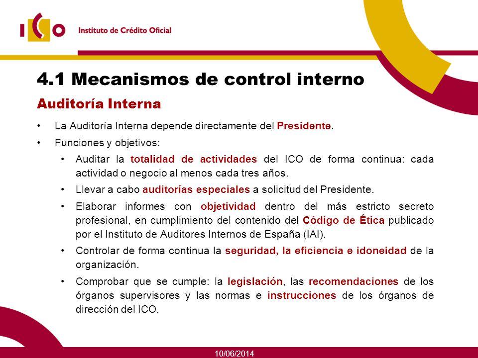 4.1 Mecanismos de control interno