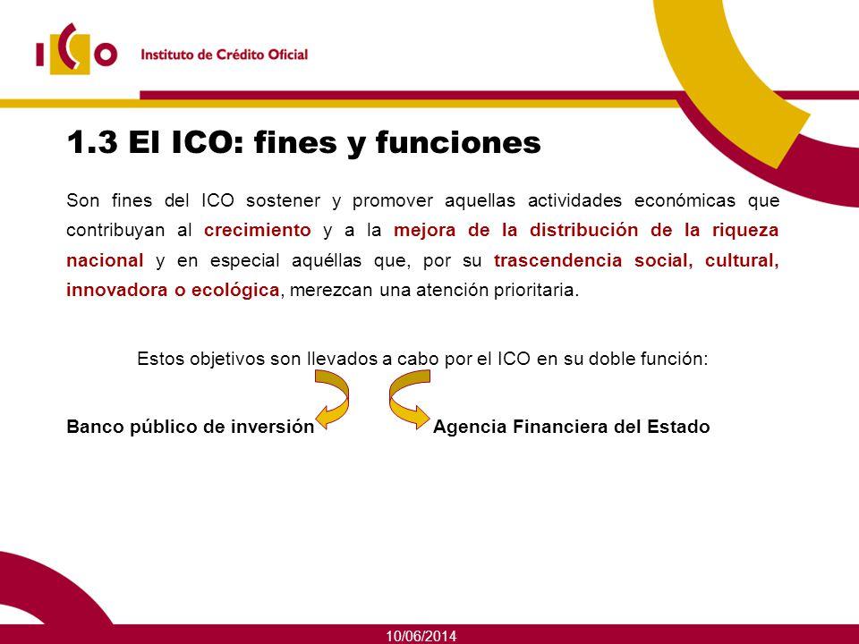 1.3 El ICO: fines y funciones