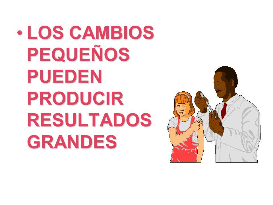LOS CAMBIOS PEQUEÑOS PUEDEN PRODUCIR RESULTADOS GRANDES