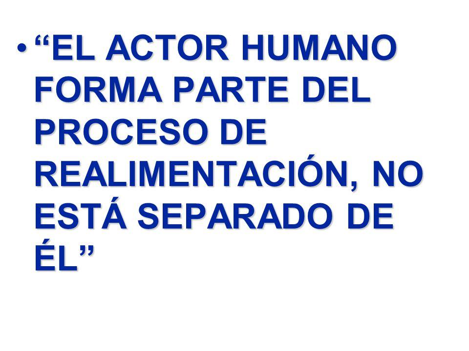 EL ACTOR HUMANO FORMA PARTE DEL PROCESO DE REALIMENTACIÓN, NO ESTÁ SEPARADO DE ÉL