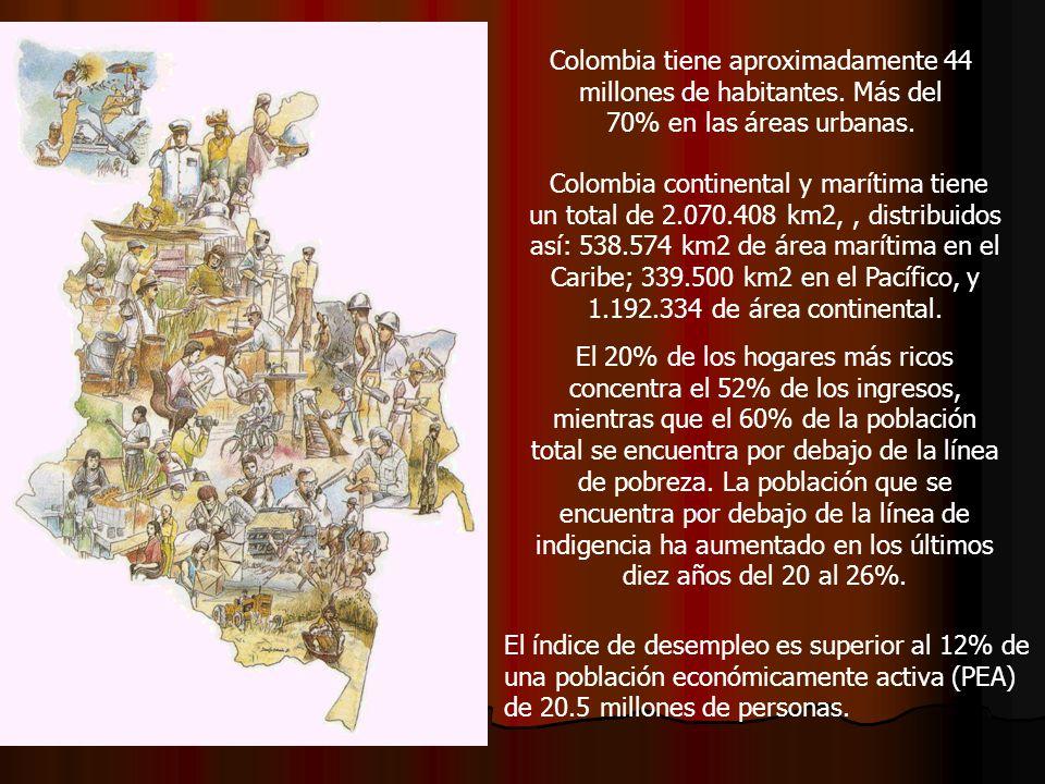 Colombia tiene aproximadamente 44 millones de habitantes