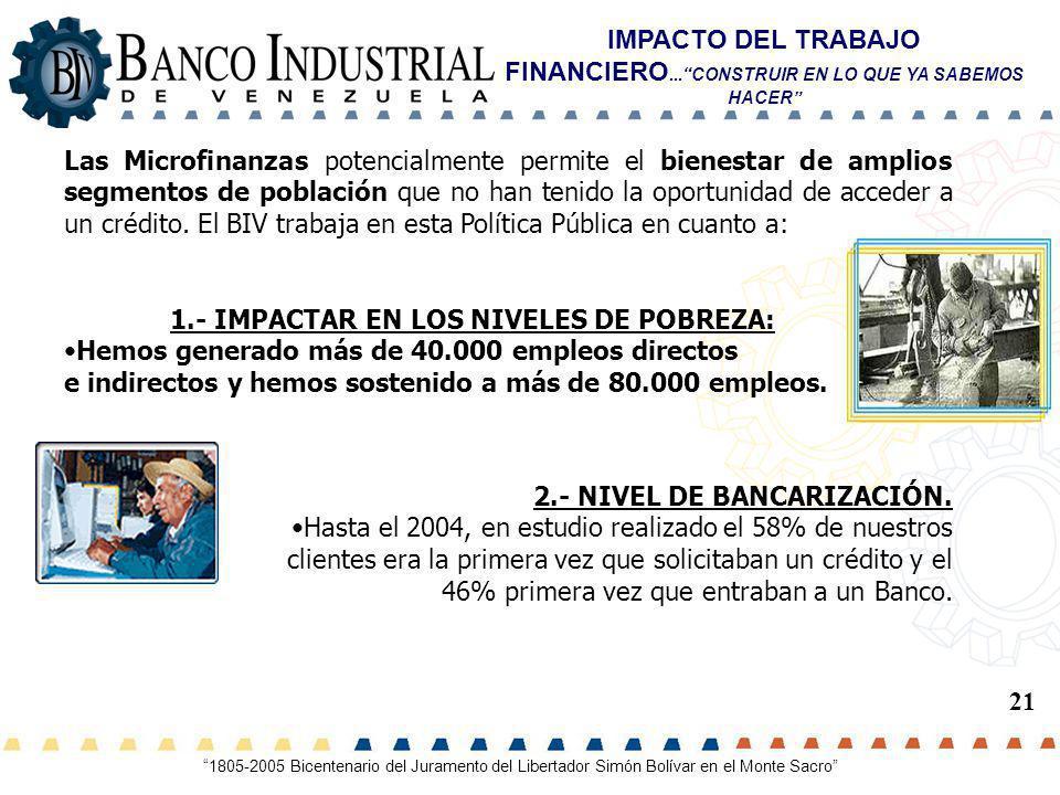 1.- IMPACTAR EN LOS NIVELES DE POBREZA: