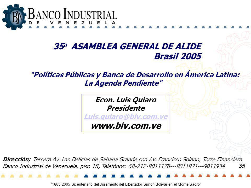 35a ASAMBLEA GENERAL DE ALIDE Brasil 2005