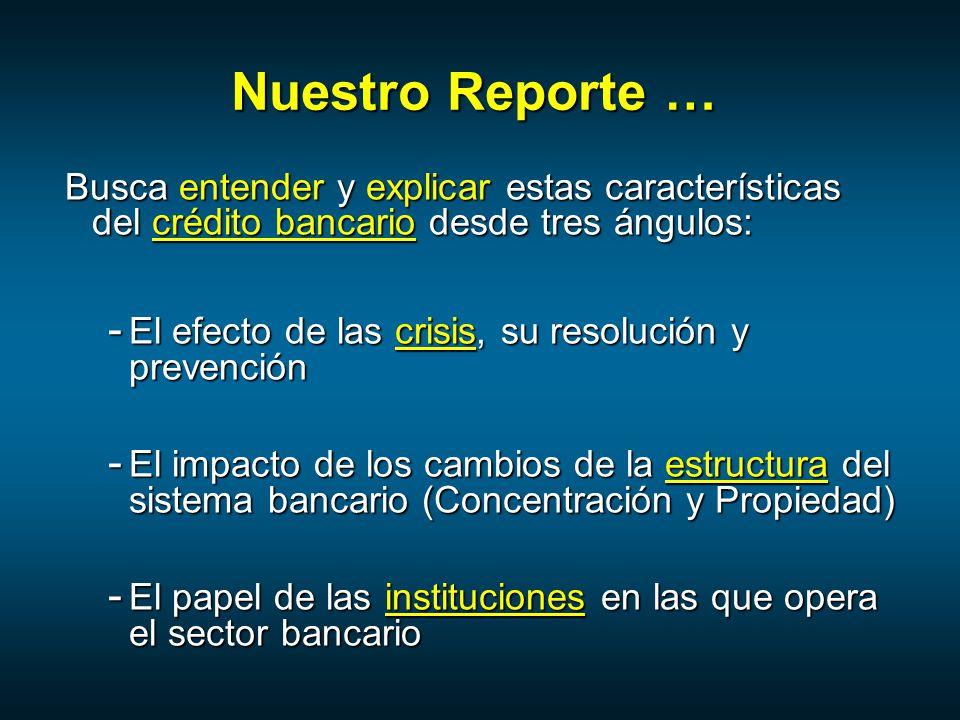 Nuestro Reporte … Busca entender y explicar estas características del crédito bancario desde tres ángulos: