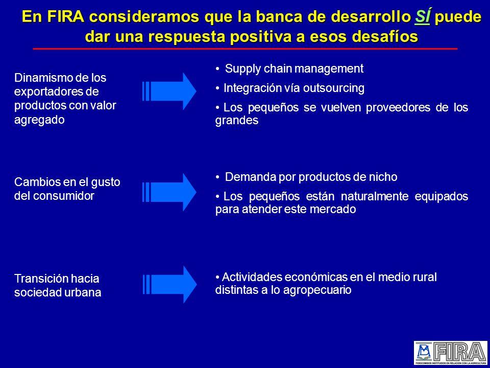 En FIRA consideramos que la banca de desarrollo SÍ puede dar una respuesta positiva a esos desafíos