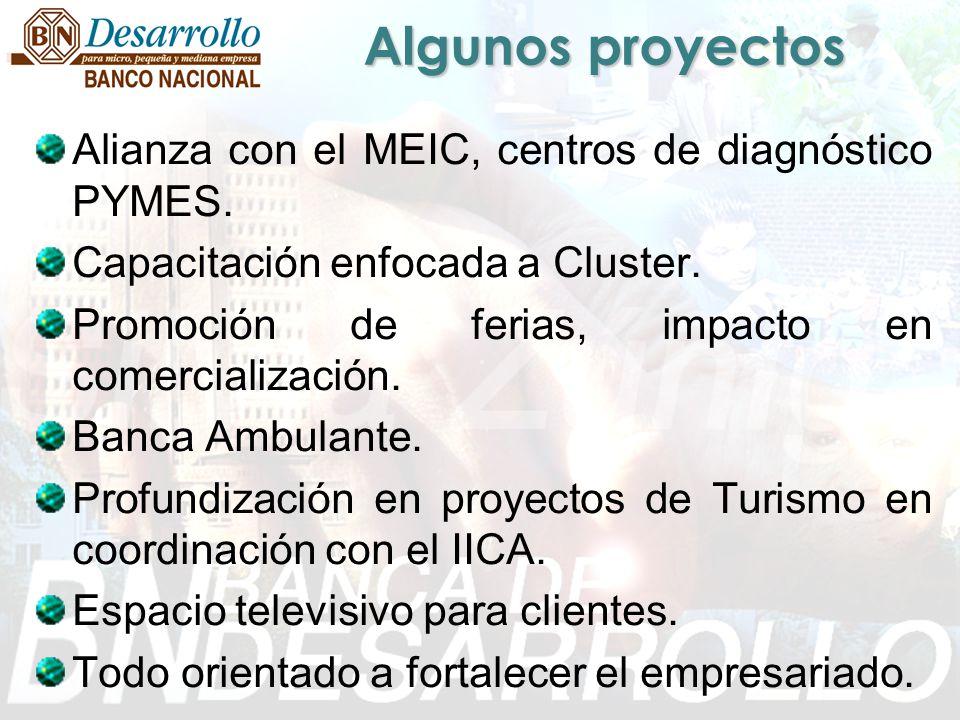Algunos proyectos Alianza con el MEIC, centros de diagnóstico PYMES.