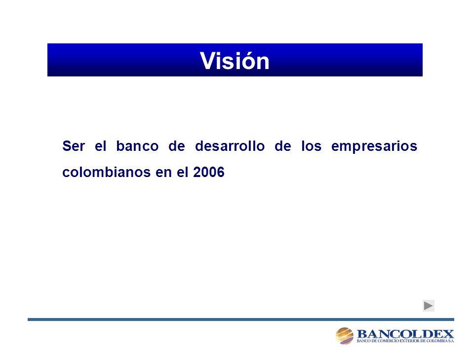 Visión Ser el banco de desarrollo de los empresarios colombianos en el 2006