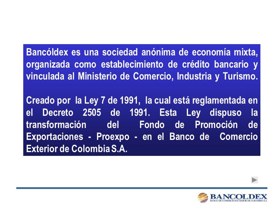 Bancóldex es una sociedad anónima de economía mixta, organizada como establecimiento de crédito bancario y vinculada al Ministerio de Comercio, Industria y Turismo.