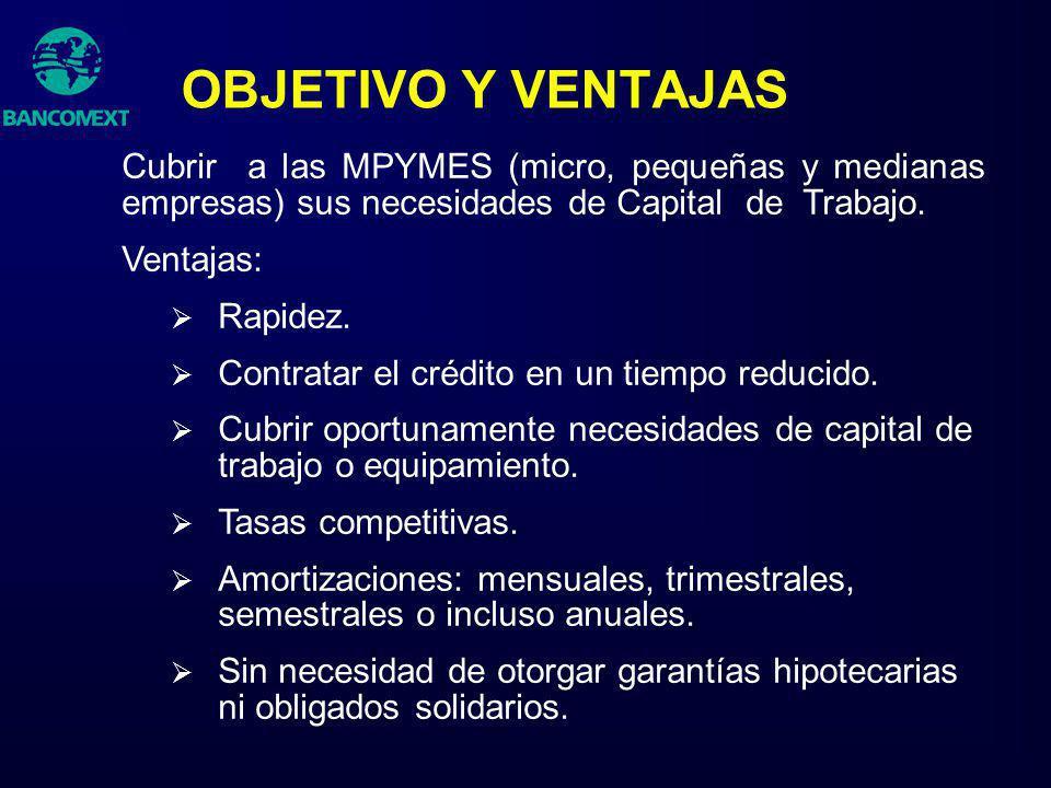 OBJETIVO Y VENTAJAS Cubrir a las MPYMES (micro, pequeñas y medianas empresas) sus necesidades de Capital de Trabajo.