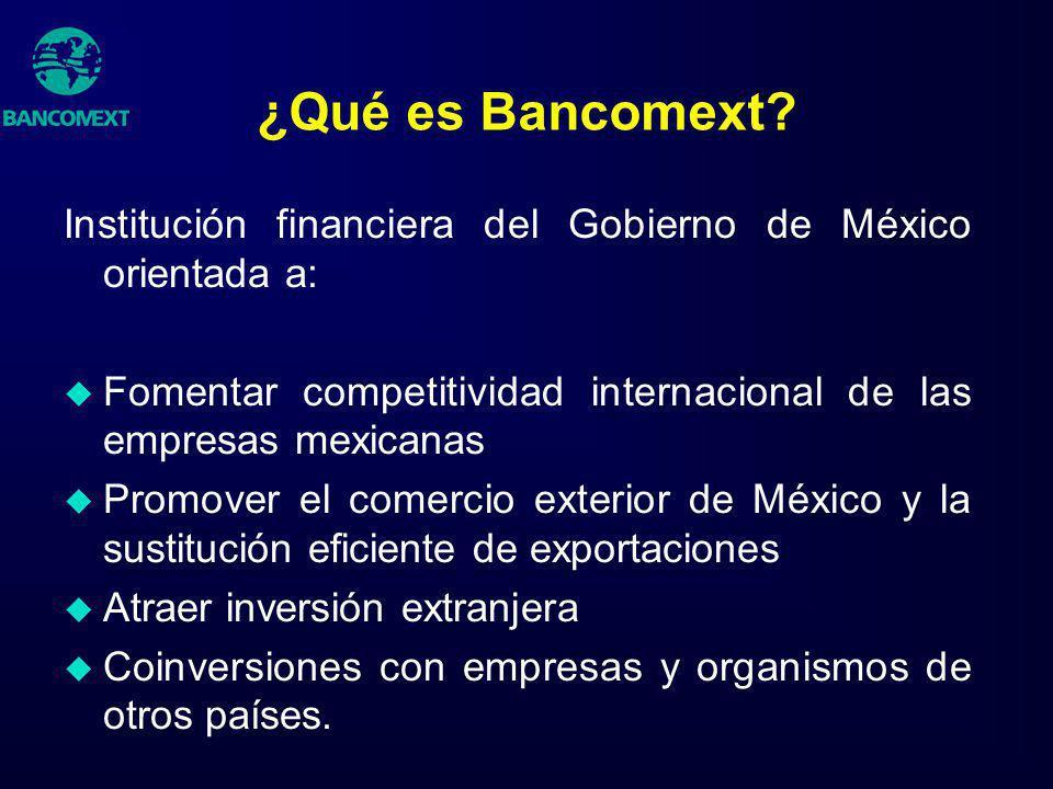 ¿Qué es Bancomext Institución financiera del Gobierno de México orientada a: Fomentar competitividad internacional de las empresas mexicanas.