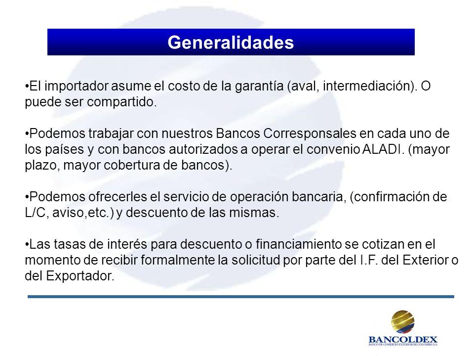 Generalidades El importador asume el costo de la garantía (aval, intermediación). O puede ser compartido.