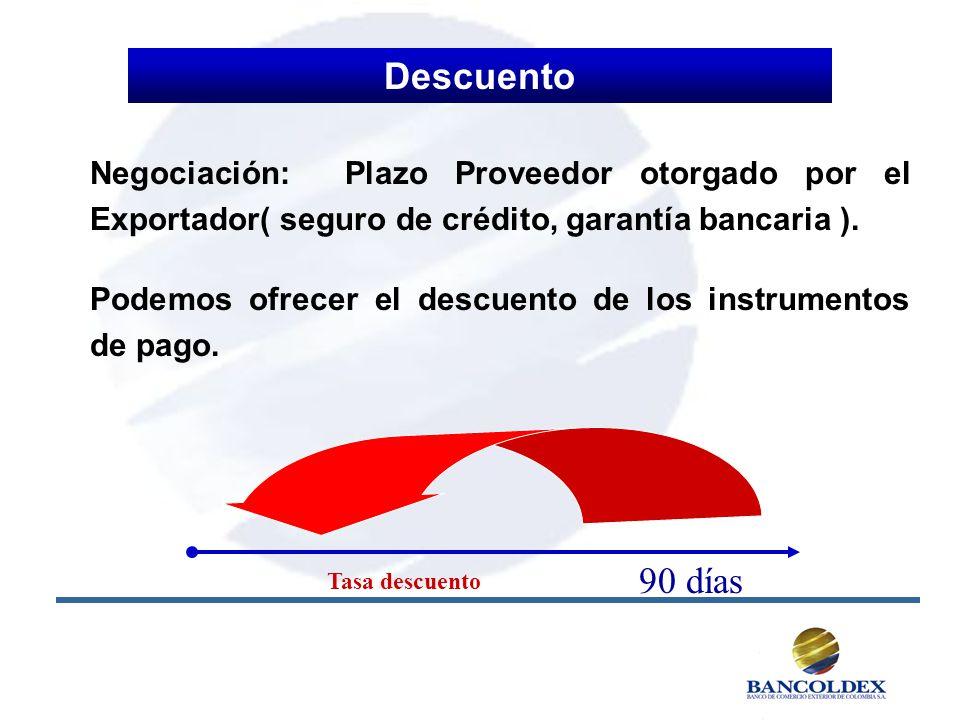Descuento Negociación: Plazo Proveedor otorgado por el Exportador( seguro de crédito, garantía bancaria ).