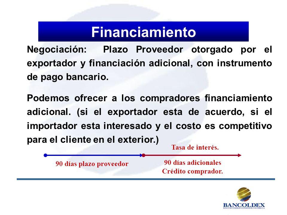 Financiamiento Negociación: Plazo Proveedor otorgado por el exportador y financiación adicional, con instrumento de pago bancario.