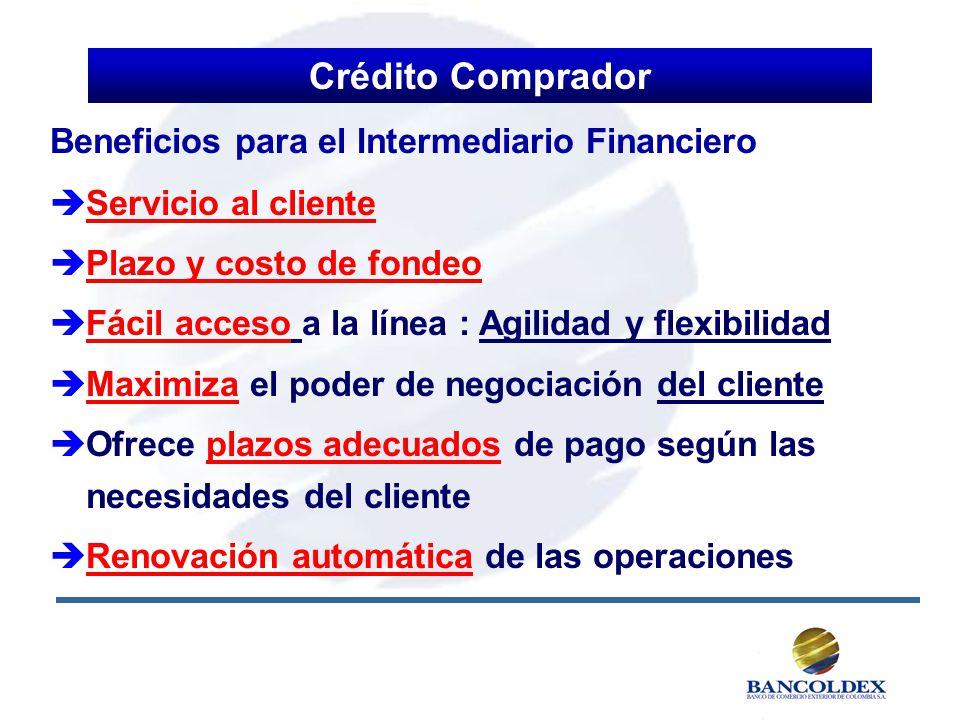 Crédito Comprador Beneficios para el Intermediario Financiero