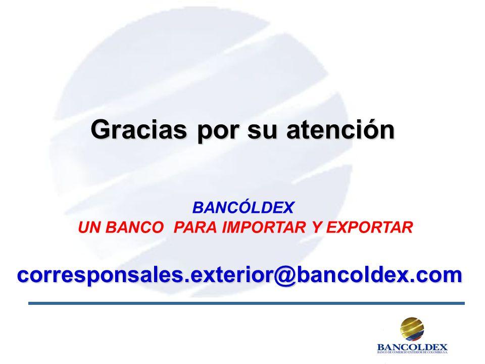 Gracias por su atención UN BANCO PARA IMPORTAR Y EXPORTAR