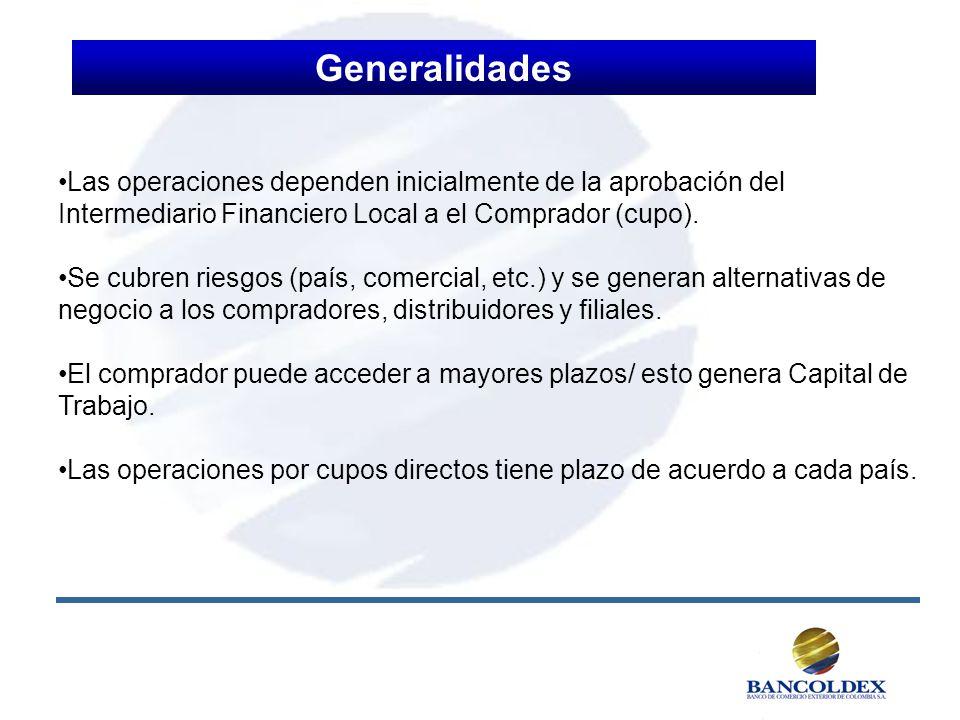 Generalidades Las operaciones dependen inicialmente de la aprobación del Intermediario Financiero Local a el Comprador (cupo).