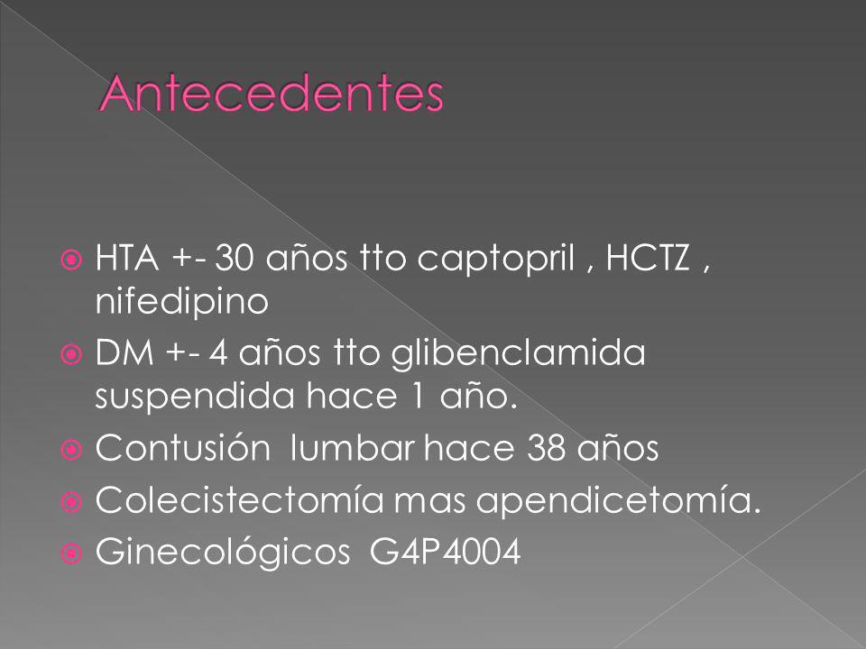 Antecedentes HTA +- 30 años tto captopril , HCTZ , nifedipino