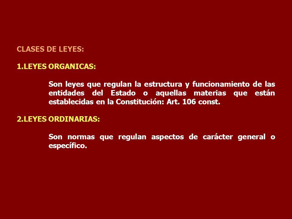 CLASES DE LEYES: 1.LEYES ORGANICAS:
