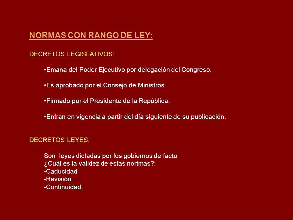 NORMAS CON RANGO DE LEY: