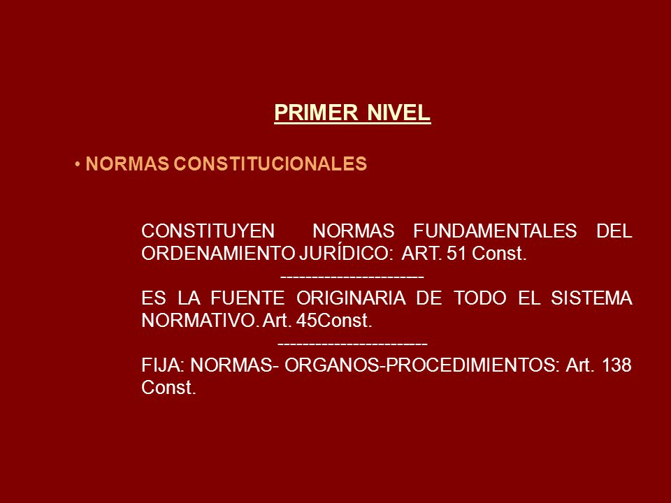 PRIMER NIVEL NORMAS CONSTITUCIONALES
