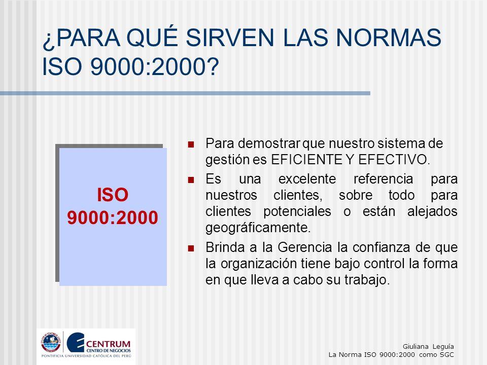 ¿PARA QUÉ SIRVEN LAS NORMAS ISO 9000:2000