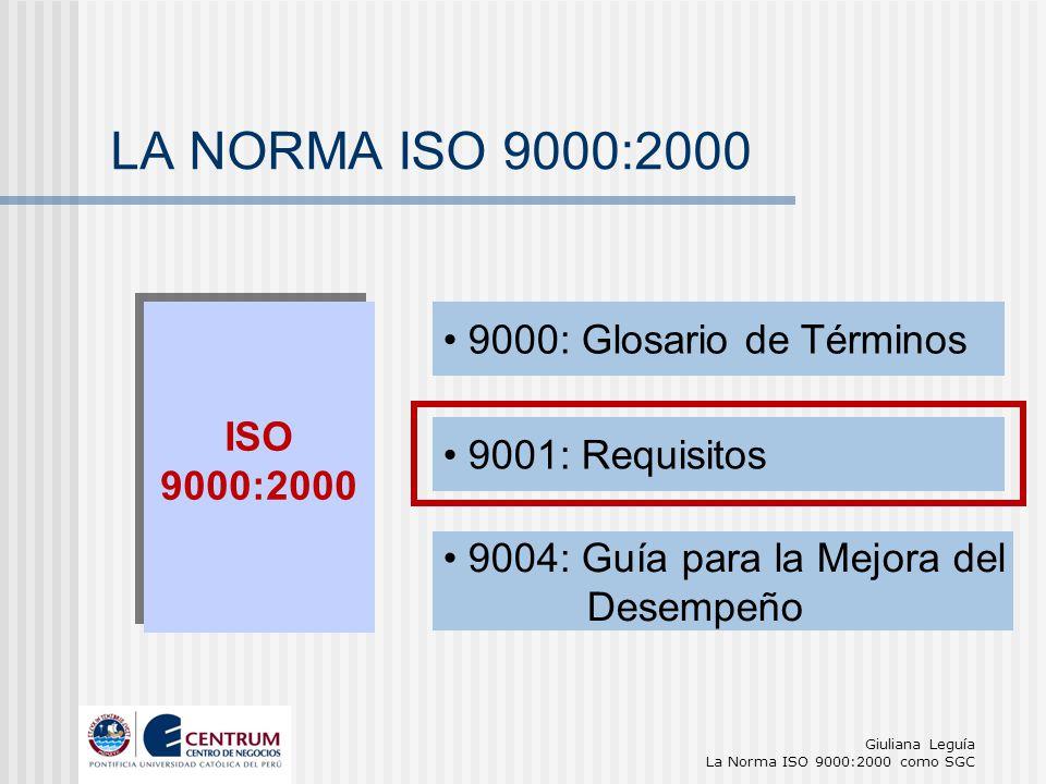 LA NORMA ISO 9000:2000 9000: Glosario de Términos ISO 9000:2000