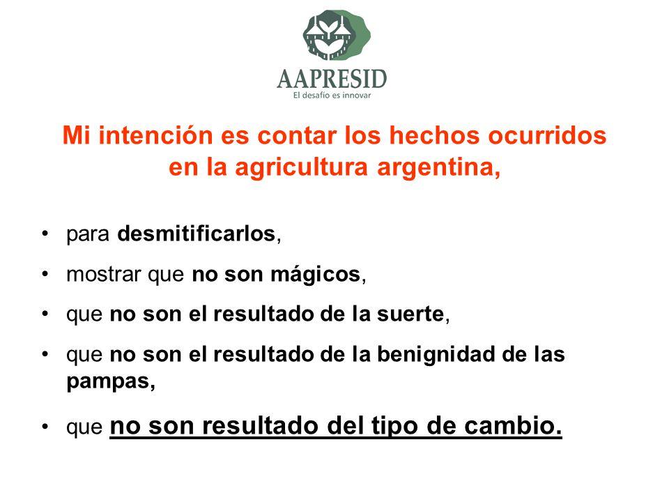 Mi intención es contar los hechos ocurridos en la agricultura argentina,