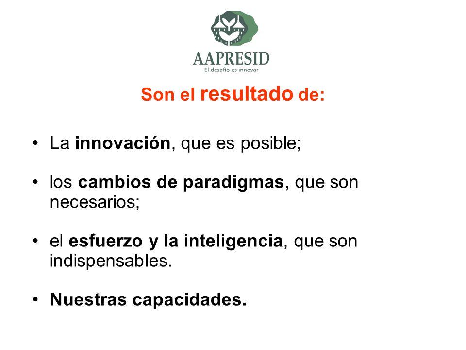 Son el resultado de: La innovación, que es posible; los cambios de paradigmas, que son necesarios;
