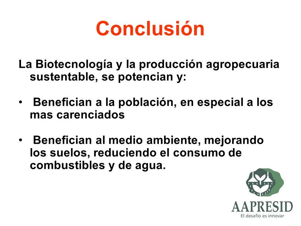 Conclusión La Biotecnología y la producción agropecuaria sustentable, se potencian y: Benefician a la población, en especial a los mas carenciados.
