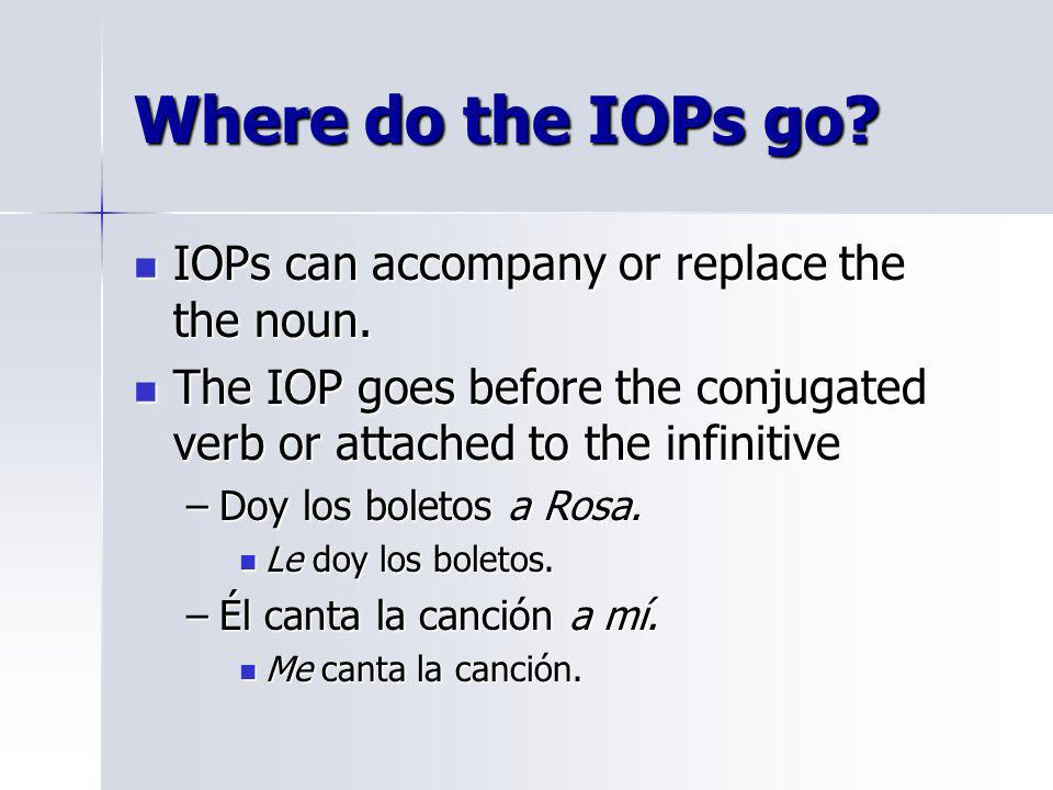 Where do the IOPs go IOPs can accompany or replace the the noun.