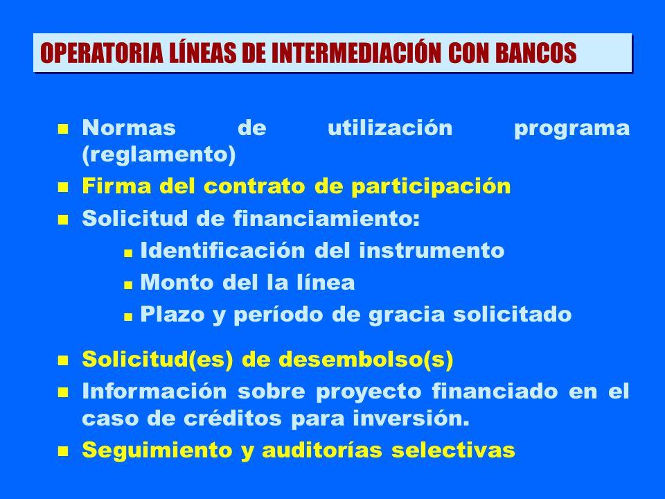 OPERATORIA LÍNEAS DE INTERMEDIACIÓN CON BANCOS