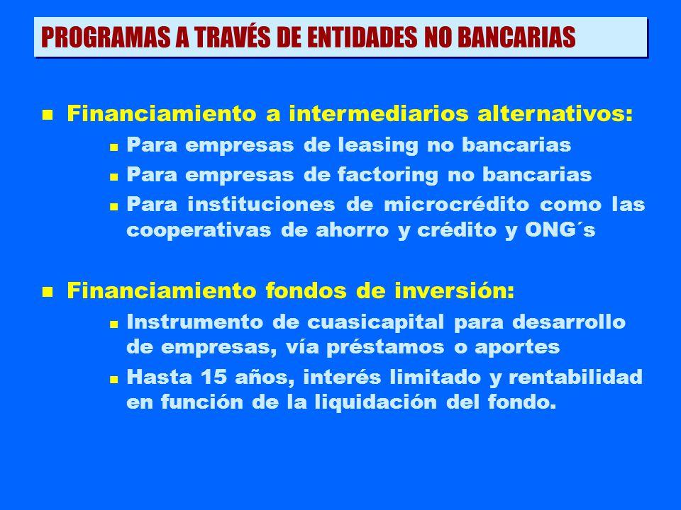 PROGRAMAS A TRAVÉS DE ENTIDADES NO BANCARIAS