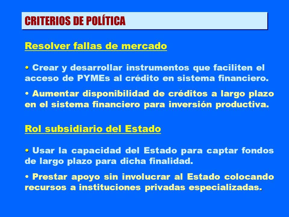 CRITERIOS DE POLÍTICA Resolver fallas de mercado